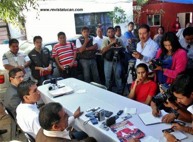 Said Hernández ante medios de comunicación