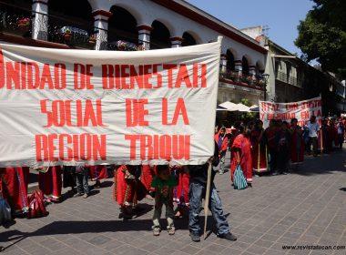 Protesta de UBISORT en la capital oaxaqueña