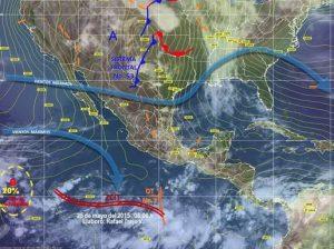 Potencial de lluvias al sur del país