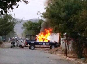 Quema de unidades de la policía de Tehuantepec