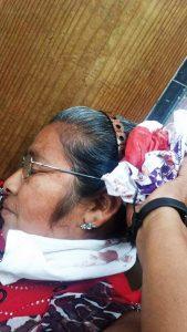 Rosalinda Méndez de 52 años de edad, herida en Jalapa de Díaz