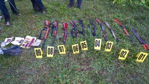 Armamento asegurado en el operativo Chimalapas