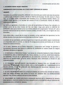 Documento recibido por el Gobernador Alejandro Murat