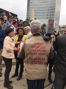Periodistas desde el Ángel de la Independencia