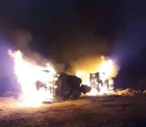 Unidades incendiadas en Nochixtlán
