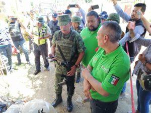Entrega del material explosivo al Ejército Mexicano